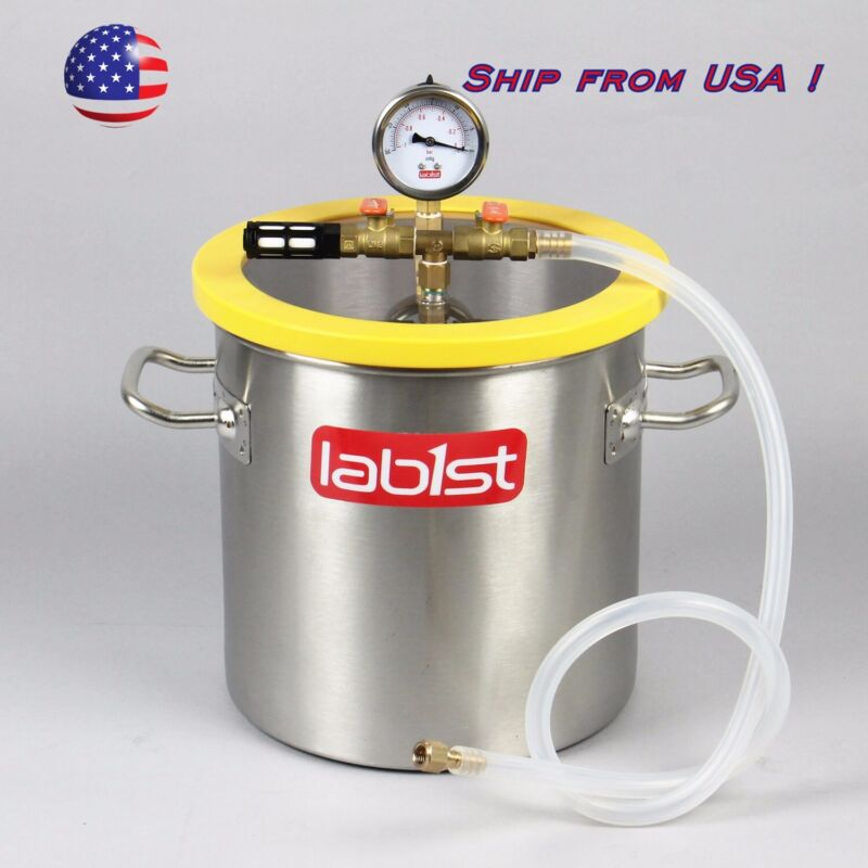 "3 Gallon 250mm 9.8"" Stainless Steel Vacuum Degassing Chamber PC Lid from USA"