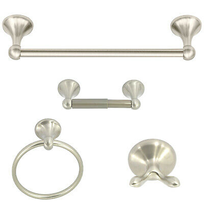 4-piece Bathroom Hardware Accessory Set With 24 Towel Bar -satin Nickel Finish