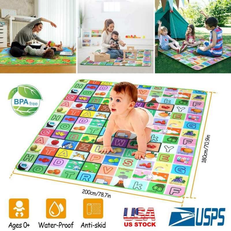 Folding Baby Play Mat Baby EPE Non-Toxic Non-Slip Care Waterproof (Extra Large)