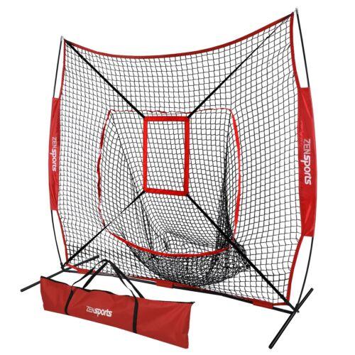 Portable Baseball Softball Practice HittingTraining Net 7×7 w/ Strike Zone & Bag Baseball & Softball