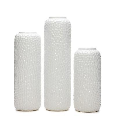 "Set of 3 White Ceramic Honeycomb Vase- Tall 12"", Medium 10"", Short 8"" High"