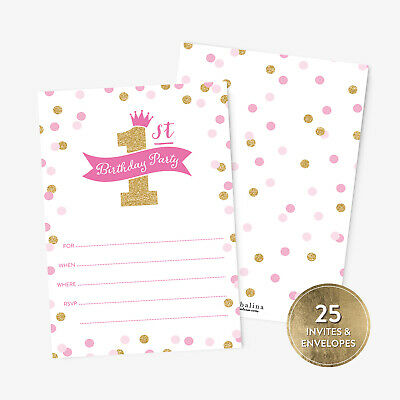 25 Princess First Birthday Party Invitations and Envelopes Pink and Gold Glitter