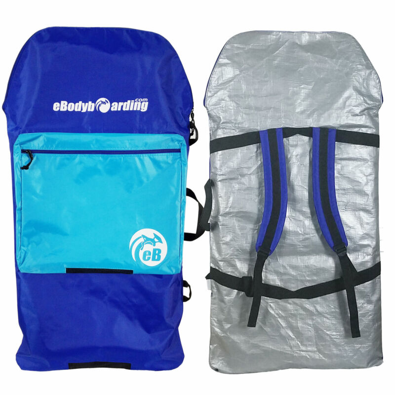 "eBodyboarding.com Kids Sack 39"" Bodyboard Bag- Blue, Reflector Back"