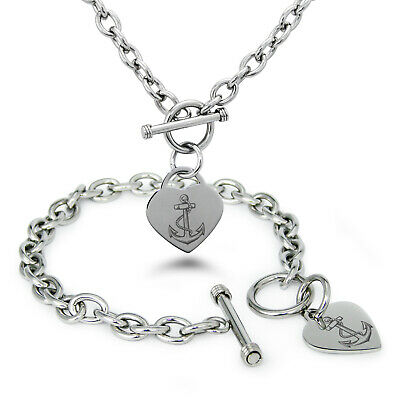Anchor Heart (Stainless Steel Mariner Nautical Anchor Heart Charm Bracelet, Necklace,)