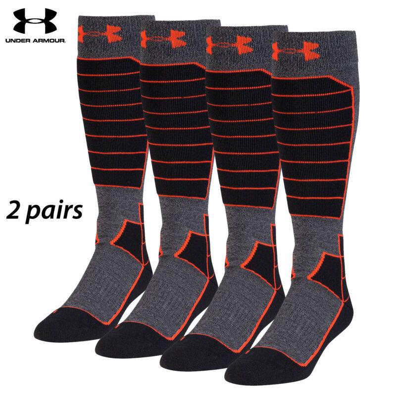 UA Socks: 2-PAIR Mtn Perf. OTC (L) BLK/ORG
