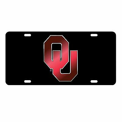 OU UNIVERSITY OF OKLAHOMA Sooners Black Red Mirrored License Plate / Car Tag  - Oklahoma Sooners License Plate