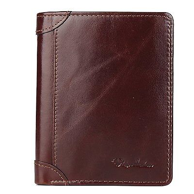 Bison Denim Mens Vintage Italian Genuine Leather Slim Bifold Wallet Handmade