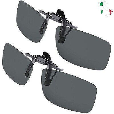 Clip Occhiali da Sole Polarizzati Uomo Donna 2 Pezzi Clip-on per Esterno Guida