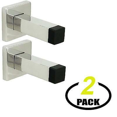 Nuk3y Modern Square Wall Mount Door Stop or Coat Hook, Polished Stainless (Modern Door Stops)