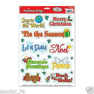 1 Sheet CHRISTMAS Party Decoration WINDOW CLINGS Cling CHRISTMAS SAYINGS