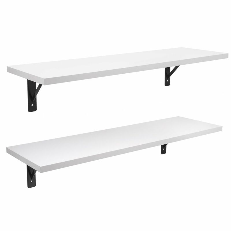 2 Display Ledge Shelf Floating Shelves Wall Mounted with Bracket for Pictures