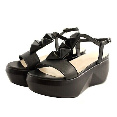 Shoes Sandals Casual Jeannot Woman Black Leather Strap Wedge Comfortable
