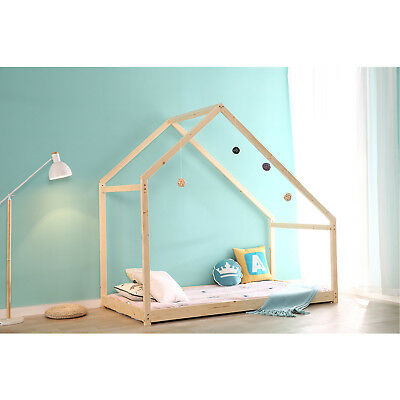 Kids Mansion Bed - Children House Frame Bed Floor Platform Wood Kids Bed Tent Bedroom Furniture NEW