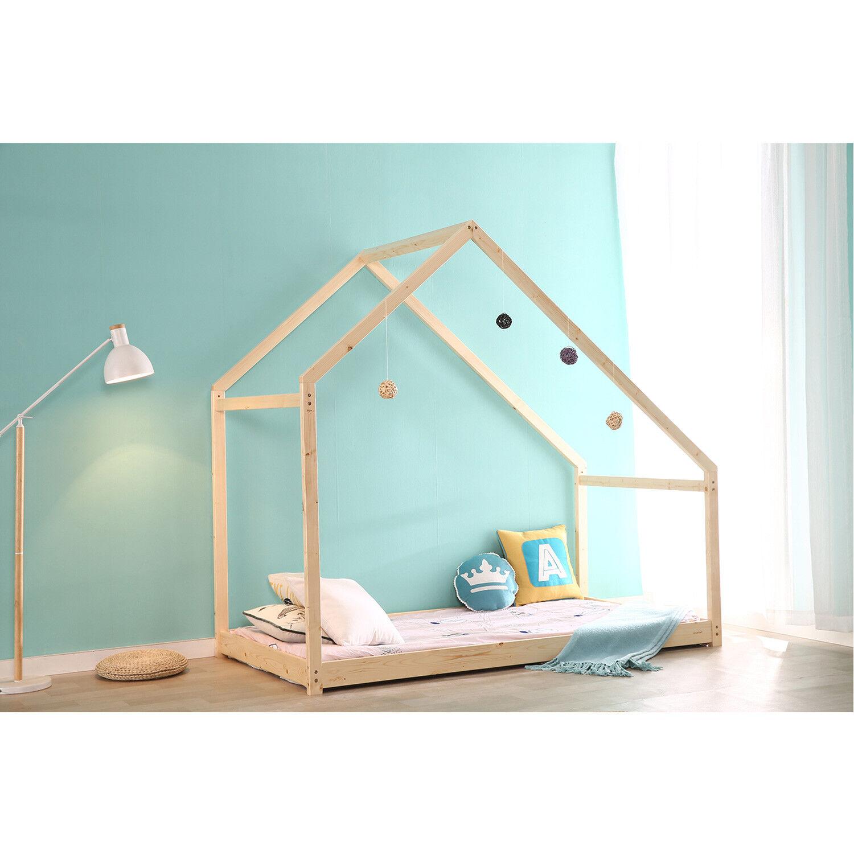 Children House Frame Bed Floor Platform Wood Kids Bed Tent B