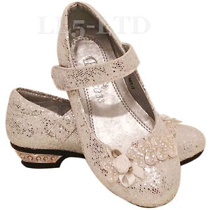 NEW GORGEOUS GIRLS' KIDS VELCRO WEDDING BRIDESMAID PARTY METAL HEELS SIZE 7-3
