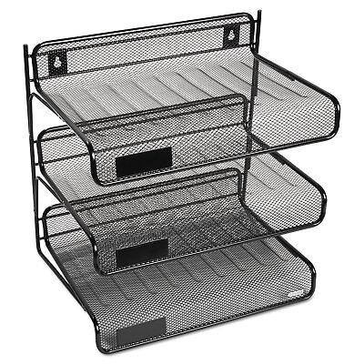 Rolodex Mesh Three-tier Letter Size Desk Shelf 10 X 7 X 9 38 Black 22341