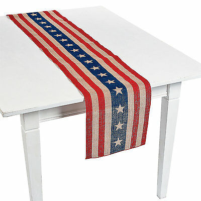1 PATRIOTIC 4th of July Americana Party Decoration Burlap Rustic Table Runner](July 4th Decorations)