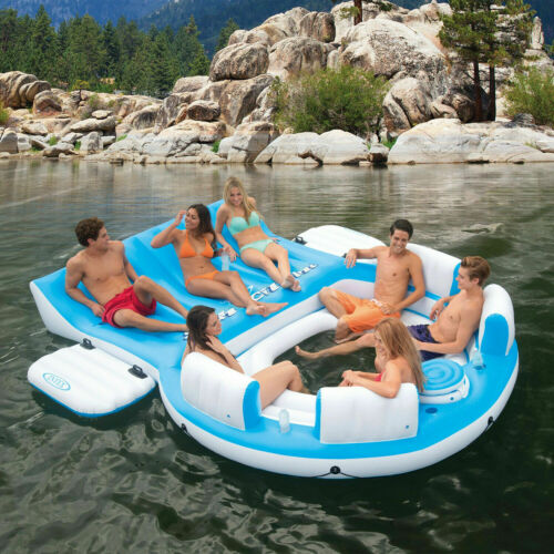 Inflatable Island Raft 7 Person Floating Pool Party Lake Lounge Float Cooler NEW