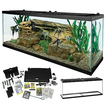 Complete 55-Gallon Aquarium Kit Large LED Light Fish Tank Heater Filter Food New