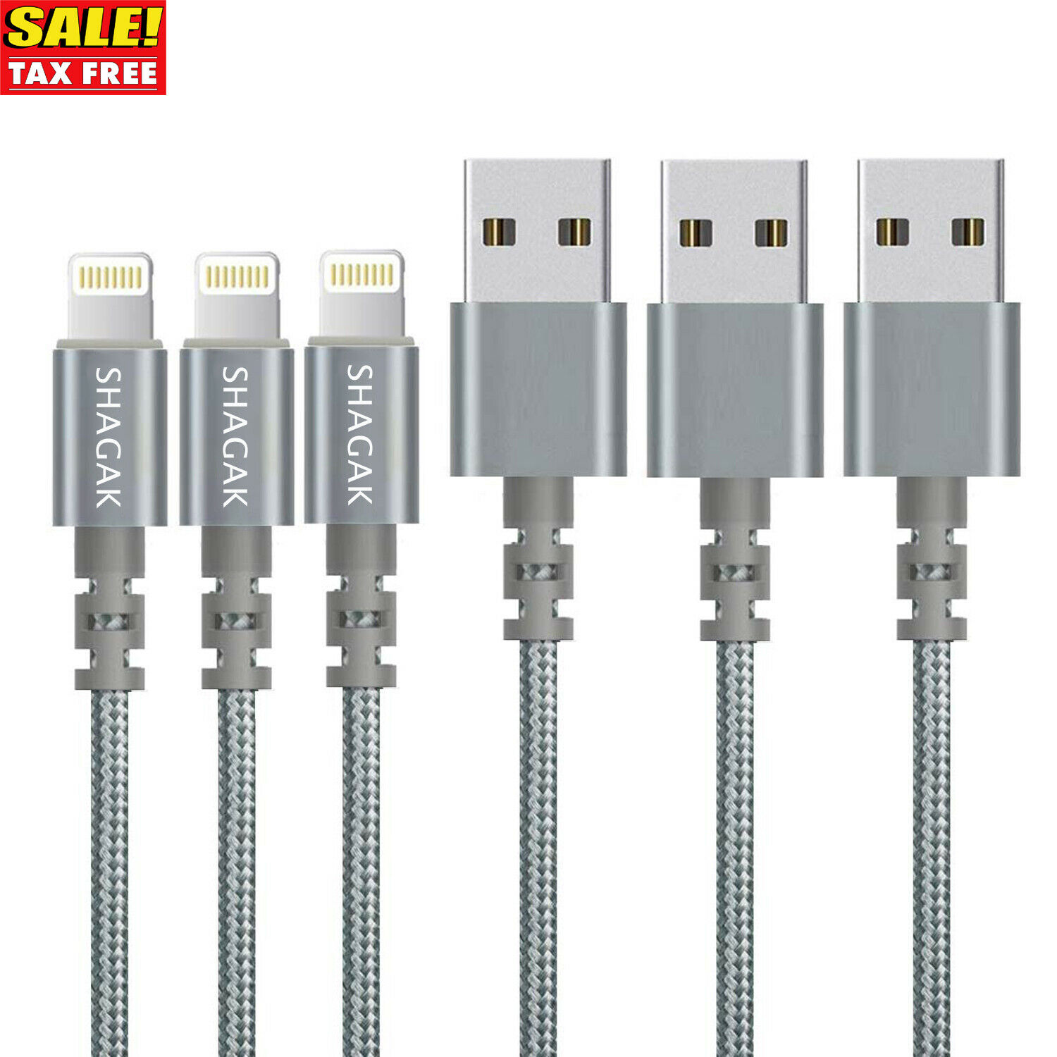 3 Pack 6 Ft Lightning Cable Heavy Duty iPhone 7 6 5 Charging