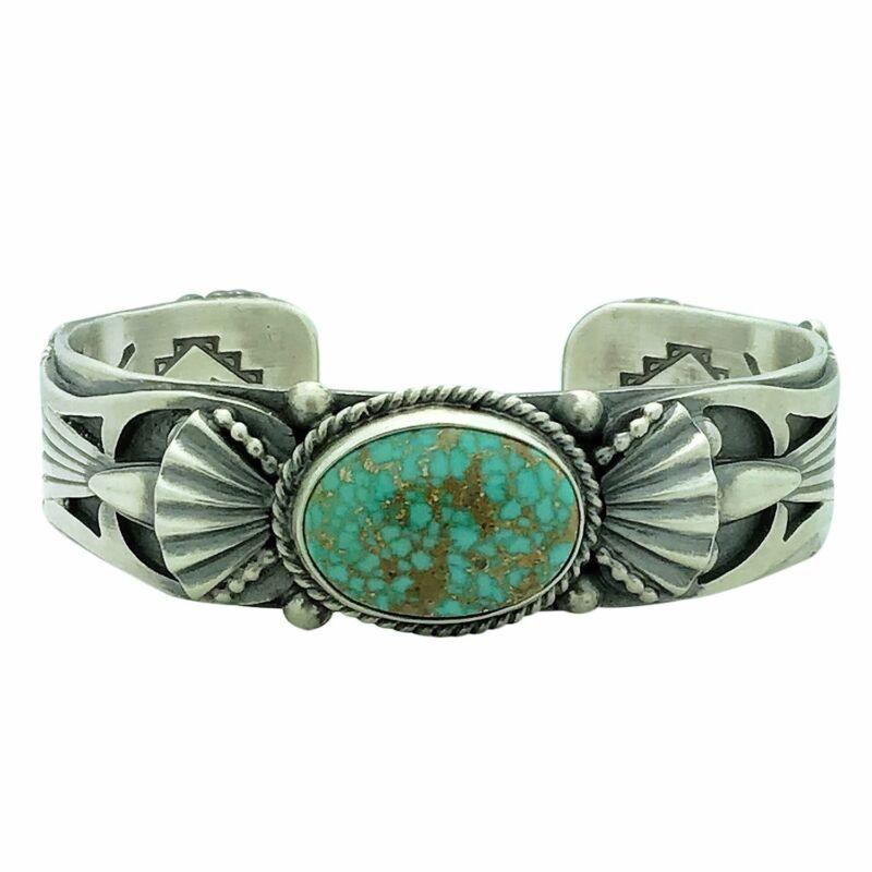 "Delbert Gordon, Bracelet, Turquoise Mountain, Stamping, Navajo Handmade, 6 7/8"""