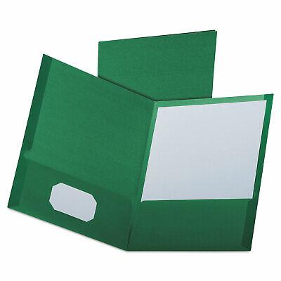 Oxford Linen Finish Twin Pocket Folders Letter Hunter Green 25box 53434