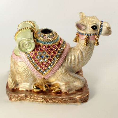 Bejeweled Camel Shaped Trinket Box, Faberge  Figurine With Crystals In Multi