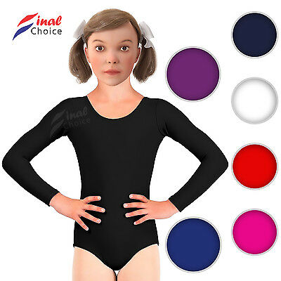 New Girls Gymnastics Shiny Leotard Jazz Dance Ballet Sports Sleeved Top Uniform