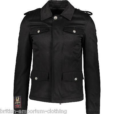 JOHN RICHMOND Black Cotton & Leather Padded Military Jacket Coat UK36 IT46 SMALL