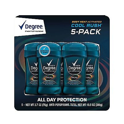 Degree Men Body Heat Activated Deodorant  Cool Rush 2 7 Oz 5 Pack