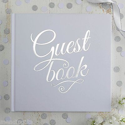 Ginger Ray White and Silver Foiled Wedding Guest Book - Metallic Perfection