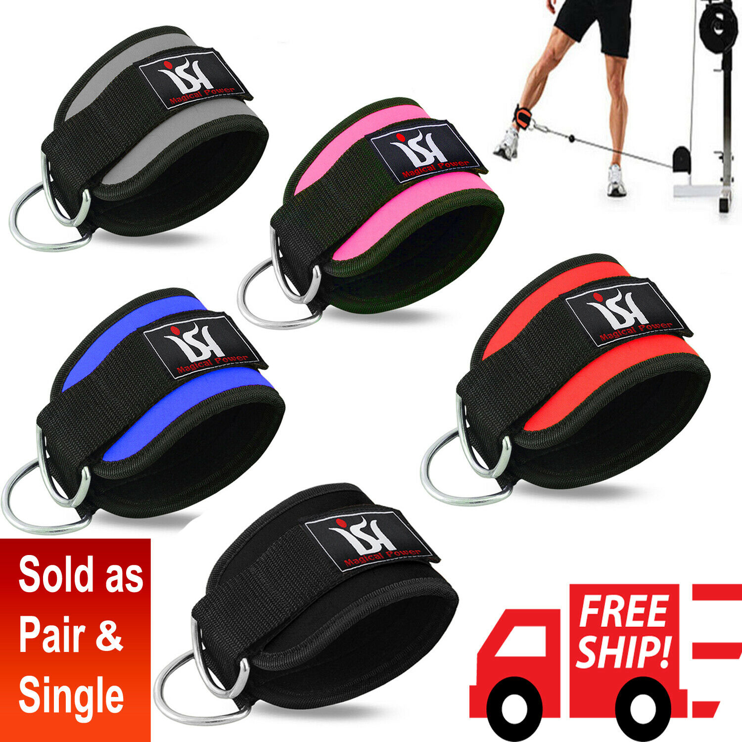 Gym Exercise Ankle Straps Weight Lifting Fitness D Ring Cabl