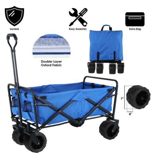 Collapsible Beach Wagon Folding Support up 165lbs Camping Ut