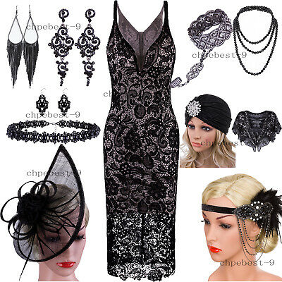 1920s Flapper Dress V Neck Spaghetti Straps Crochet Lace Embroidery Evening Gown - Flappers 1920s