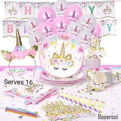 Unicorn Party Supply Set Girl Birthday Kit Decorations Baby Shower Tableware x16