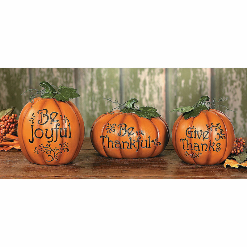Carved Thanksgiving Pumpkin Set - Home Decor - 3 Pieces