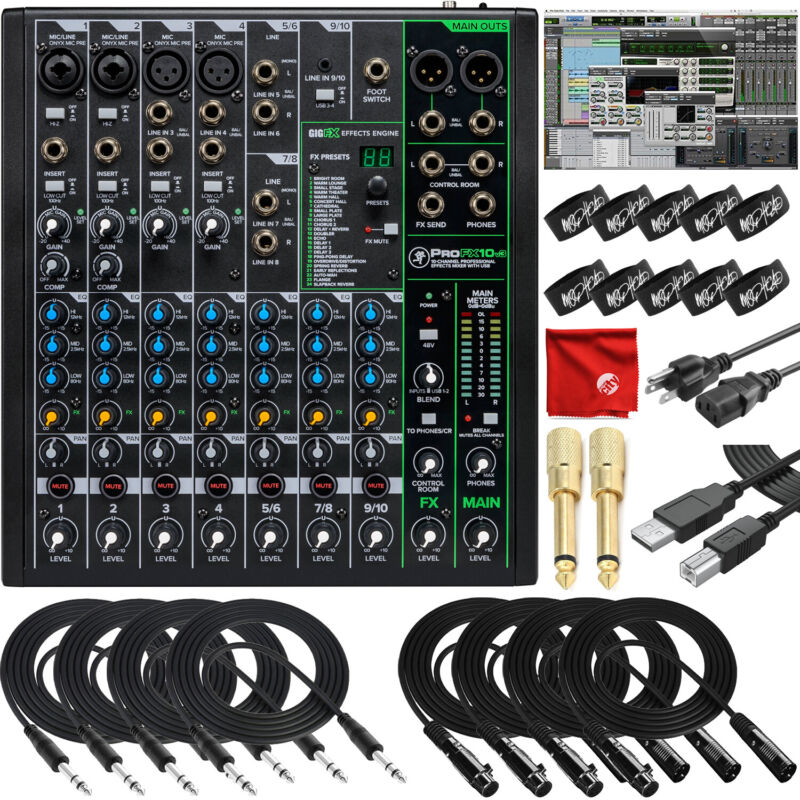Mackie ProFX10v3 10-Channel Recording Mixer USB Bundle with Pro Tools, Waveform