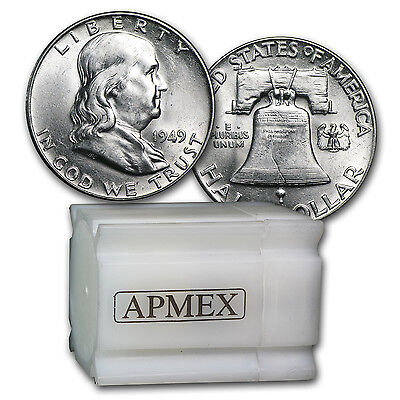 Click now to see the BUY IT NOW Price! 1949 P 90 SILVER FRANKLIN HALF DOLLARS   20 COIN ROLL   BRILLIANT UNCIRCULATED