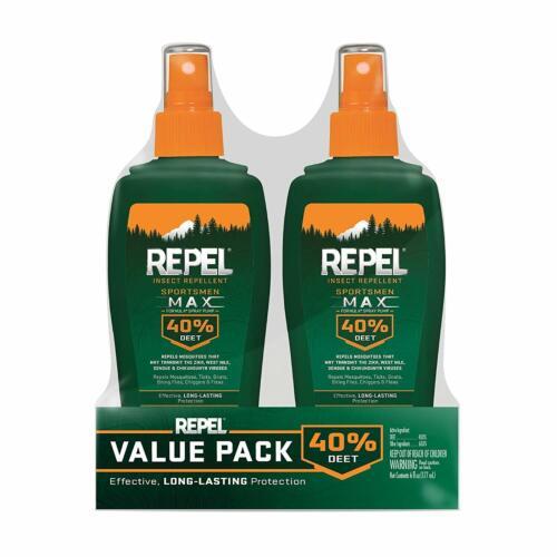 2 PACK Repel Insect Repellent Sportsmen Max Formula Spray Pump 40% DEET 6-Oz ea.