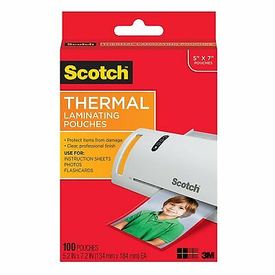 Thermal Laminating Pouches 5 X 7 Inches Scotch Photo Size 100 Pouches Free Ship