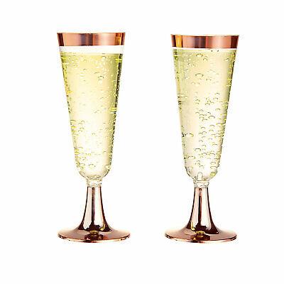 Rose Gold Trim Plastic Champagne Glasses - Party Supplies - 25 Pieces