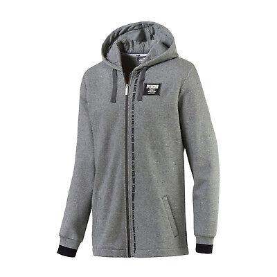 PUMA Rebel Block Full Zip Fleece Hoodie Relaxed Fit Gray Mens Size Medium-Large Block Zip Hoodie