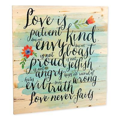 Love is Patient Love is Kind Love Never Fails 12 x 12 inch Wood Wall Sign Plaque (Love Is Kind Love Is)
