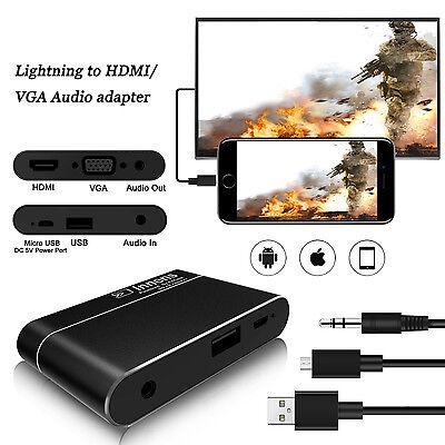 Lightning to HDMI / VGA Audio Digital AV Adapter for IOS / Android Phone Tablet