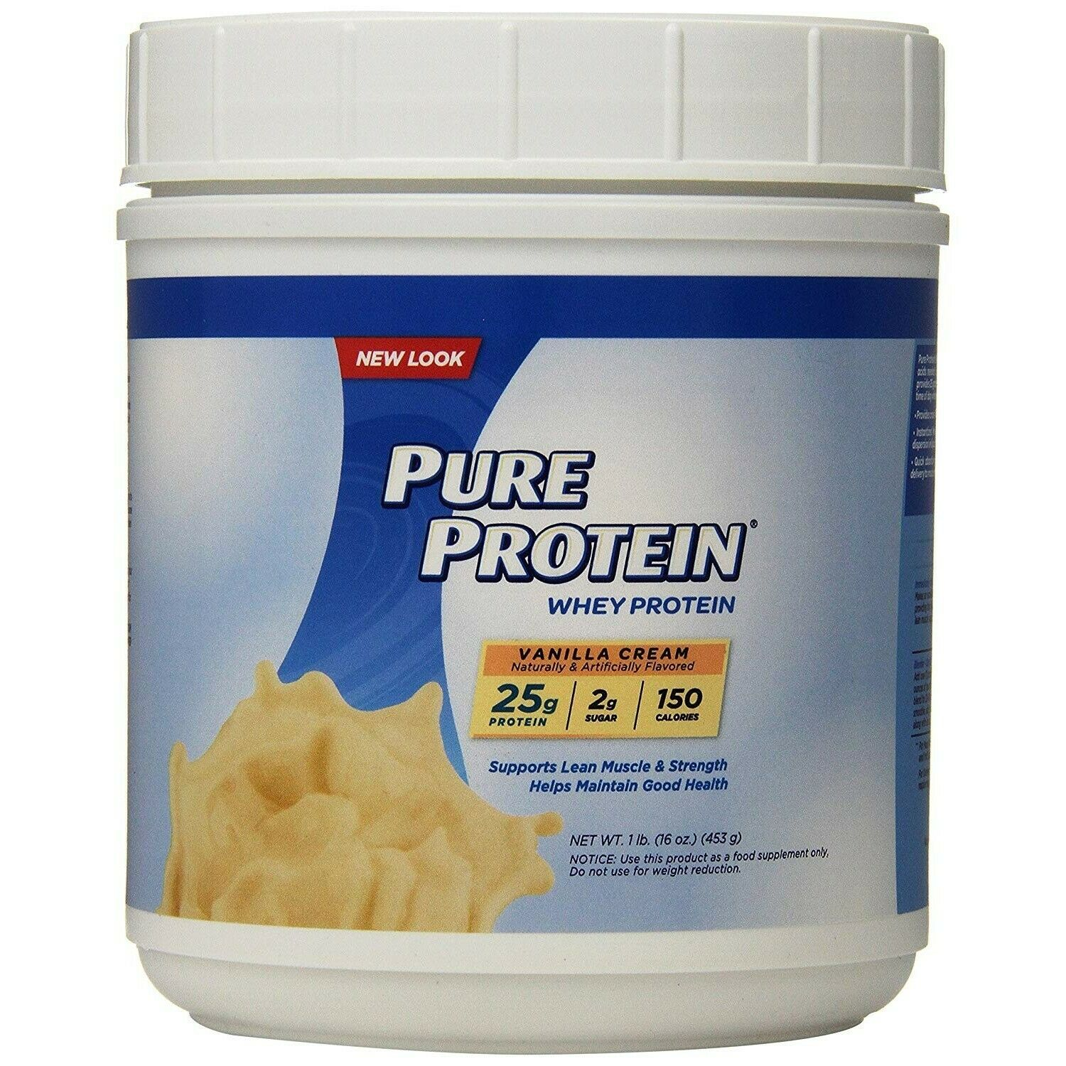 WHEY Protein Powder 1LB Vanilla Cream Pure Protein Low Sugar