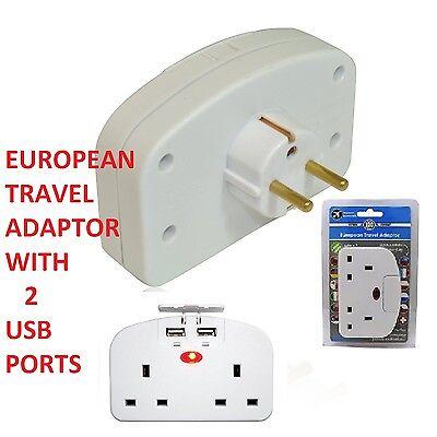 UK To EU Euro Europe European Travel Adapter Power Double Plug With 2 USB Ports