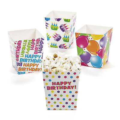 - 24 Happy Birthday Popcorn TREAT SNACK FAVOR BOXES party snack buffet decoration