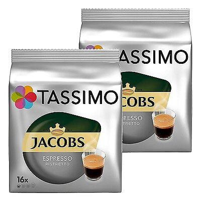 2 x Packs Tassimo Jacobs Espresso Ristretto T Discs Pods - 32 Expresso Drinks