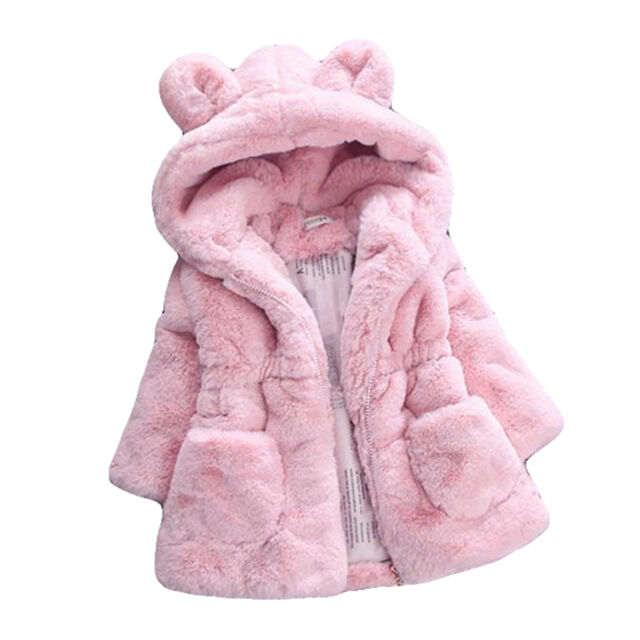Winter Baby Kid Girls Cute Bunny Coat Fleece Jacket Fur Hooded ...