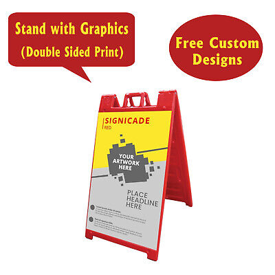 Signicade A Frame Sidewalk Pavement Sign Double Sided Print Sandwich Board Red